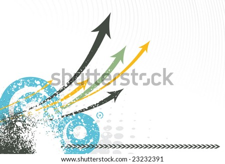 abstract grunge arrow background with Vector half tone
