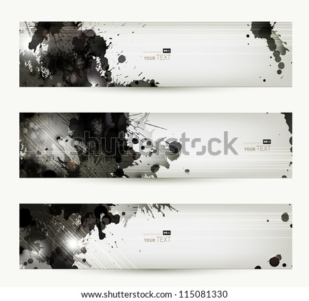 Abstract grunge artistic headers. - stock vector