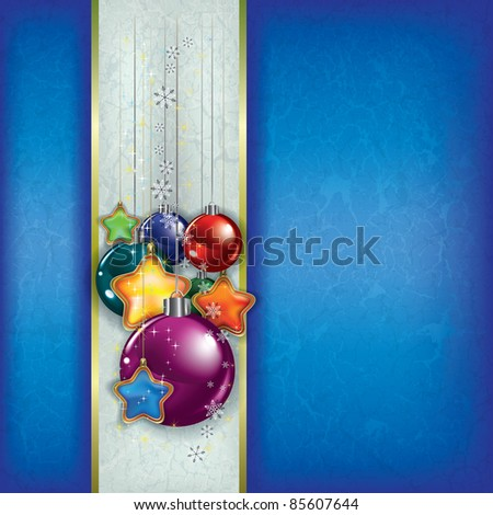 Abstract grunge background with Christmas decorations on blue - stock vector