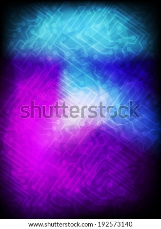 Abstract grunge background with circuit board elements - stock vector
