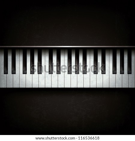 Abstract grunge background with piano on black - stock vector