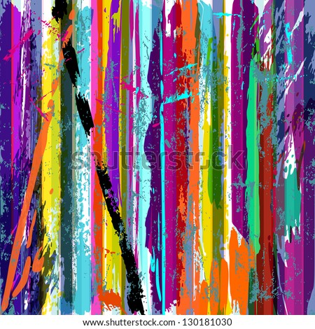 abstract grunge background, with stripes, paint strokes and splashes - stock vector