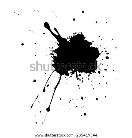 Abstract grunge black splatter on white background. - stock vector
