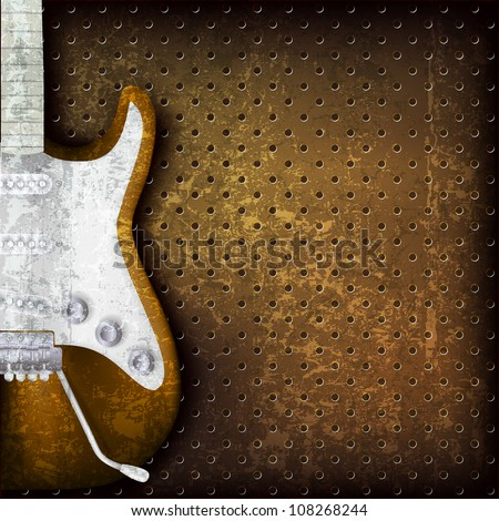 abstract grunge brown background with electric guitar - stock vector