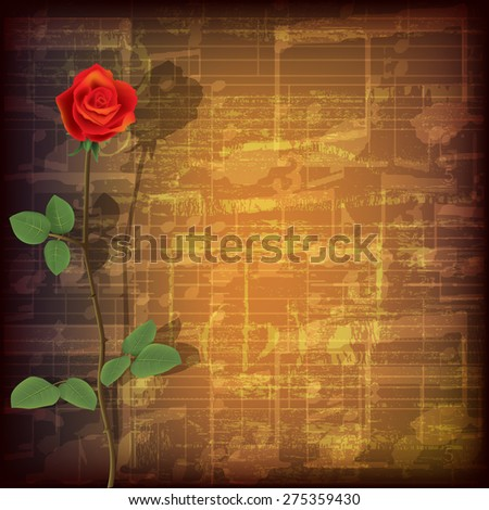 abstract grunge brown cracked music symbols vintage background with red rose - stock vector