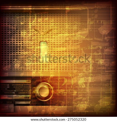 abstract grunge brown cracked music symbols vintage background with retro radio - stock vector
