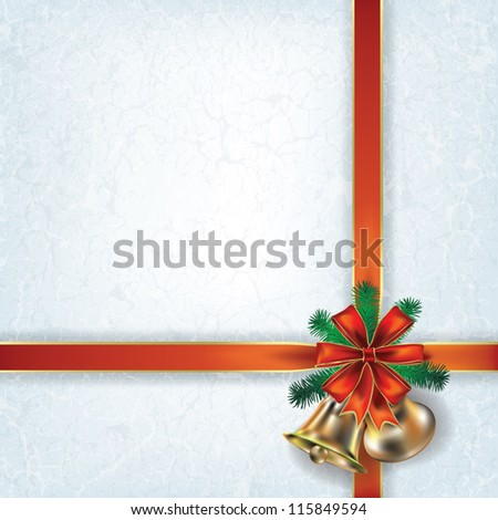 Abstract grunge Christmas background with bells and red ribbons - stock vector