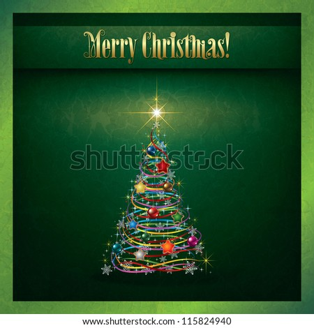 Abstract grunge Christmas greeting with tree on green - stock vector