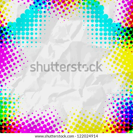 Abstract Grunge colorful Halftone vector illustration pattern background superposition  on white paper - stock vector