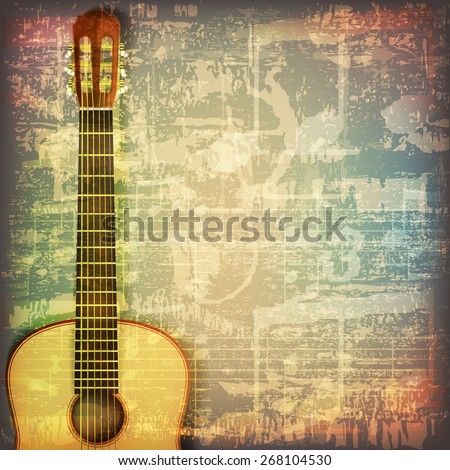 abstract grunge cracked music symbols vintage background with guitar - stock vector