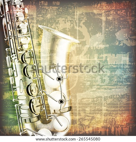 abstract grunge cracked music symbols vintage background with saxophone - stock vector