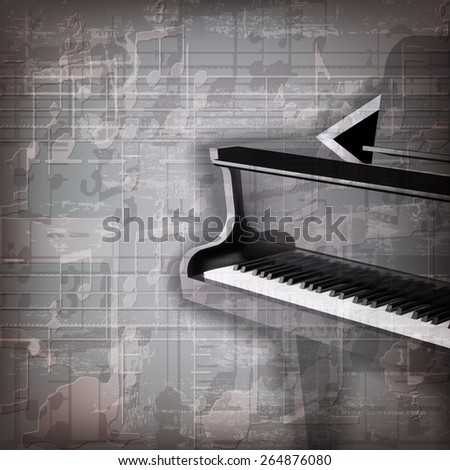 abstract grunge gray music background with grand piano - stock vector