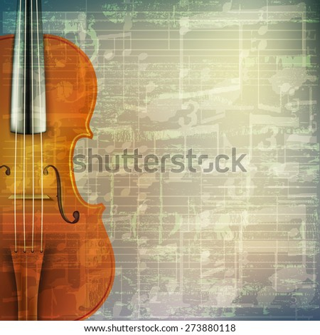 abstract grunge green cracked music symbols vintage background with violin - stock vector