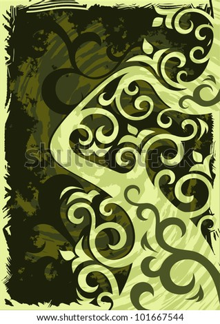 Abstract grunge green vector background illustration.
