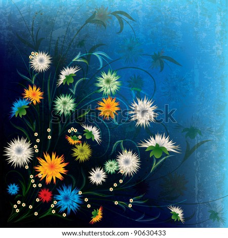 abstract grunge illustration with spring flowers on dark blue - stock vector