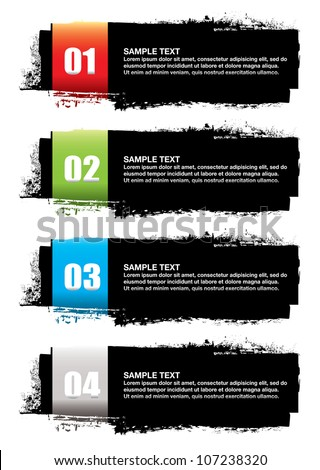 Abstract grunge ink banner with colorful elements and copy space - stock vector