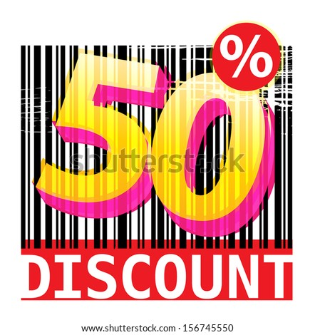 Abstract grunge label with the text 50 percent Discount, vector illustration - stock vector