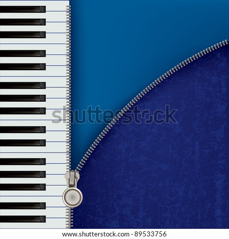 abstract grunge music background with piano and zipper - stock vector