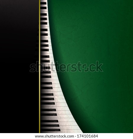 abstract grunge music background with piano keys on green