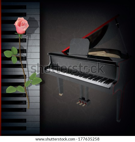abstract grunge music background with red rose and grand piano on black