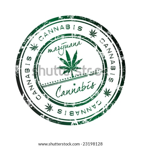 Abstract grunge office rubber stamp with a leaf of cannabis and the word cannabis written inside the stamp. Marijuana - stock vector