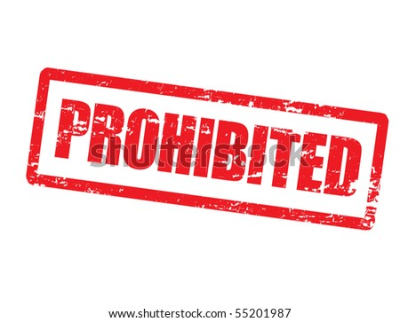 Abstract grunge office rubber stamp with the word prohibited written inside the stamp - stock vector