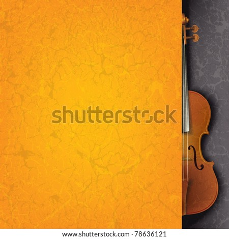 abstract grunge orange music background with violin on black