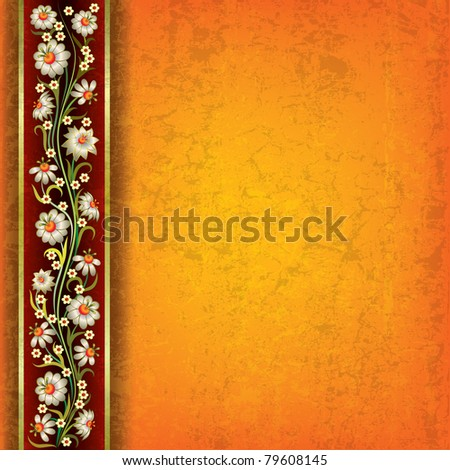 abstract grunge orange yellow background with floral ornament - stock vector