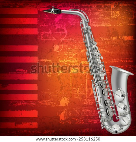 abstract grunge piano background with silver saxophone - stock vector