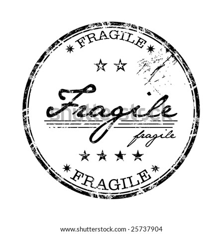 Abstract grunge rubber office stamp with stars and the word fragile written in the middle of the stamp - stock vector