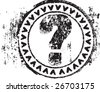 Abstract grunge rubber stamp shape with the symbol question mark - stock vector