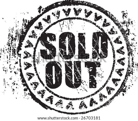Abstract grunge rubber stamp shape with the words sold out