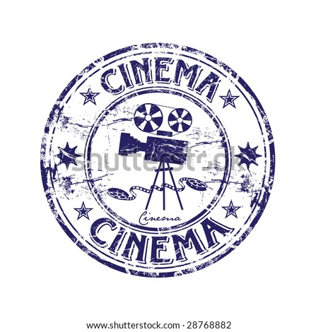 Abstract grunge rubber stamp with old movie camera shape and the word cinema written inside the stamp - stock vector