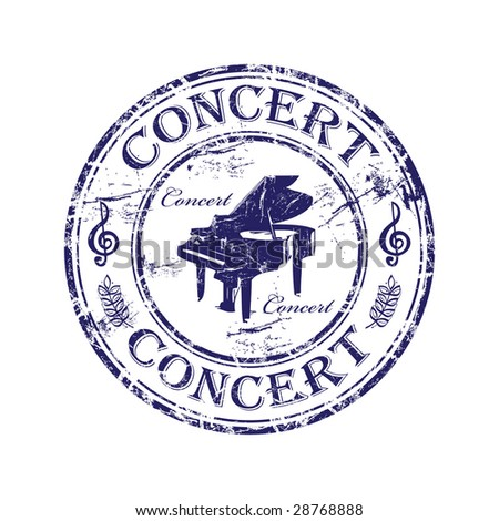 Abstract grunge rubber stamp with piano shape and the word concert written inside the stamp - stock vector