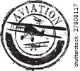 Abstract grunge rubber stamp with the text aviation - stock vector