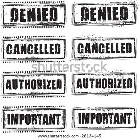 Abstract grunge rubber stamp with the text denied, cancelled, authorized and important - stock vector