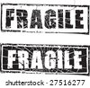Abstract grunge rubber stamp with the text fragile - stock vector