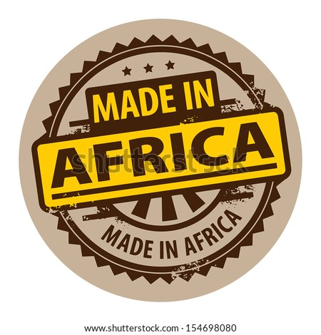 Abstract grunge rubber stamp with the text Made in Africa written inside the stamp, vector illustration - stock vector