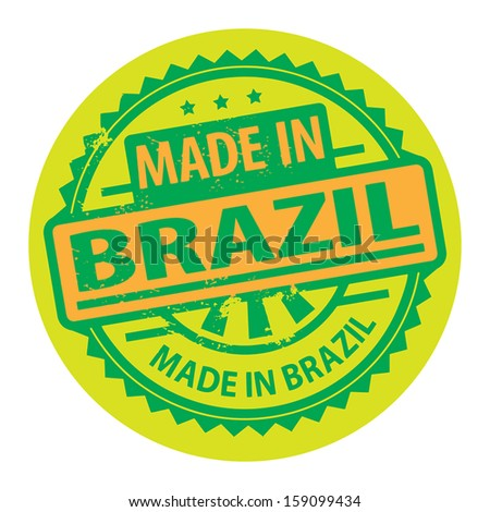 Abstract grunge rubber stamp with the text Made in Brazil written inside the stamp, vector illustration - stock vector