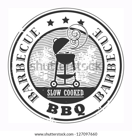 Abstract grunge rubber stamp with the word Barbecue written inside the stamp, vector illustration - stock vector