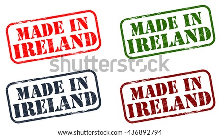Abstract grunge rubber stamp with the word Made in Ireland written inside the stamp - stock vector