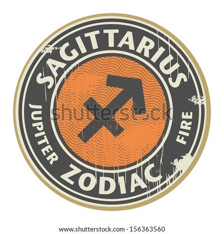 Abstract grunge rubber stamp with the Zodiac Sagittarius symbol horoscope, vector illustration