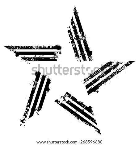 Abstract grunge star made from lines - stock vector