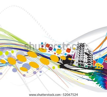 abstract grunge urban city on a rainbow wave line background, vector illustration