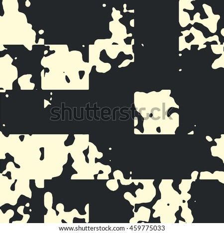 Abstract grunge vector background. Monochrome squared composition of irregular geometric shapes.created using handmade camera-less photographic print.