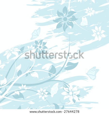 Abstract grunge vector flower background with butterfly