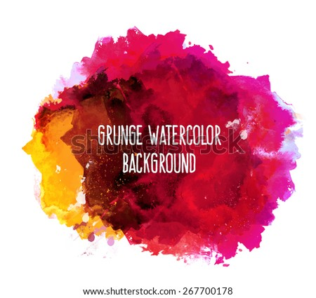 Abstract grunge vibrant colorful bright vector watercolor spot hand painted background. Text template. Summer colors. Yellow, magenta, pink and red shades.   - stock vector