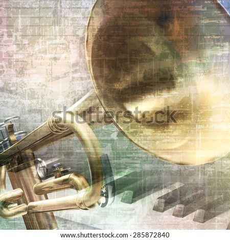 abstract grunge vintage music background with trumpet and piano keys - stock vector