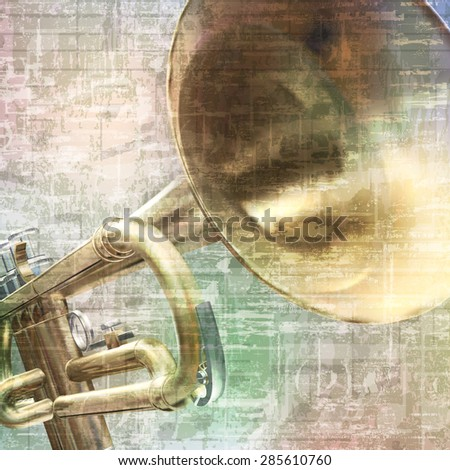 abstract grunge vintage music background with trumpet on gray - stock vector