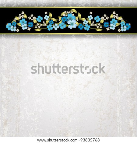 abstract grunge white background with blue spring flowers - stock vector